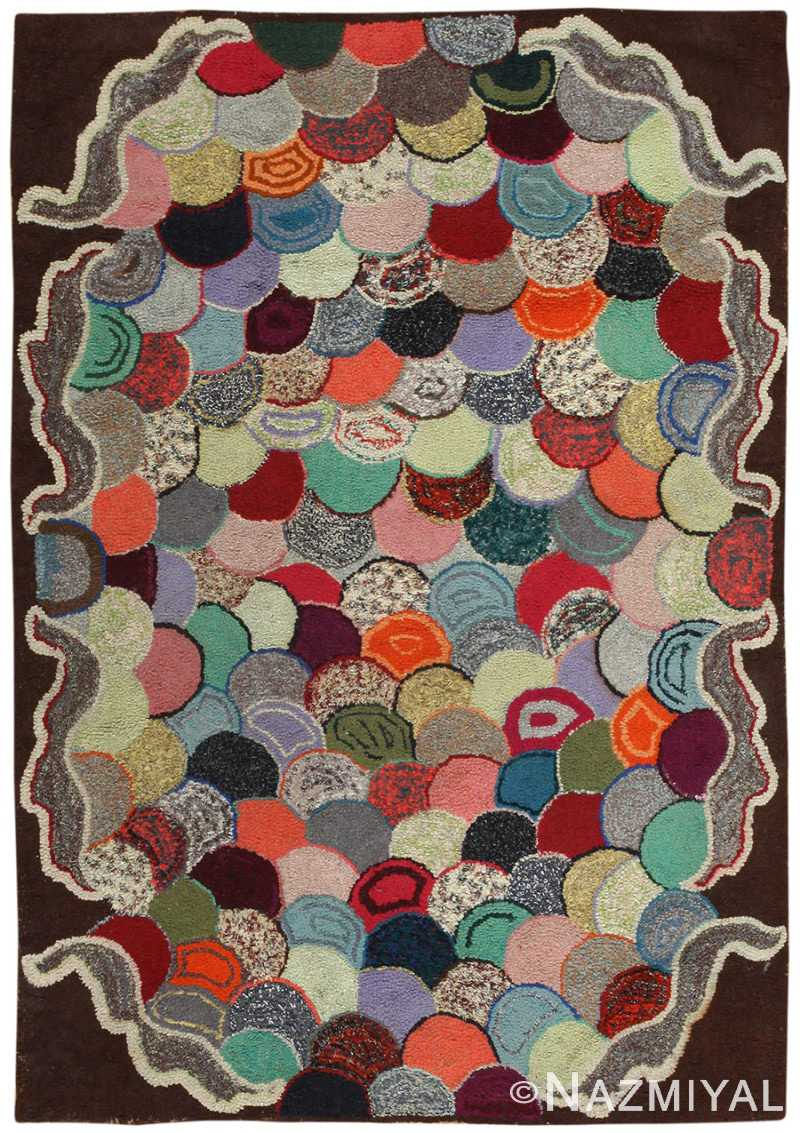 Antique American Hooked Rug 50007 Detail/Large View