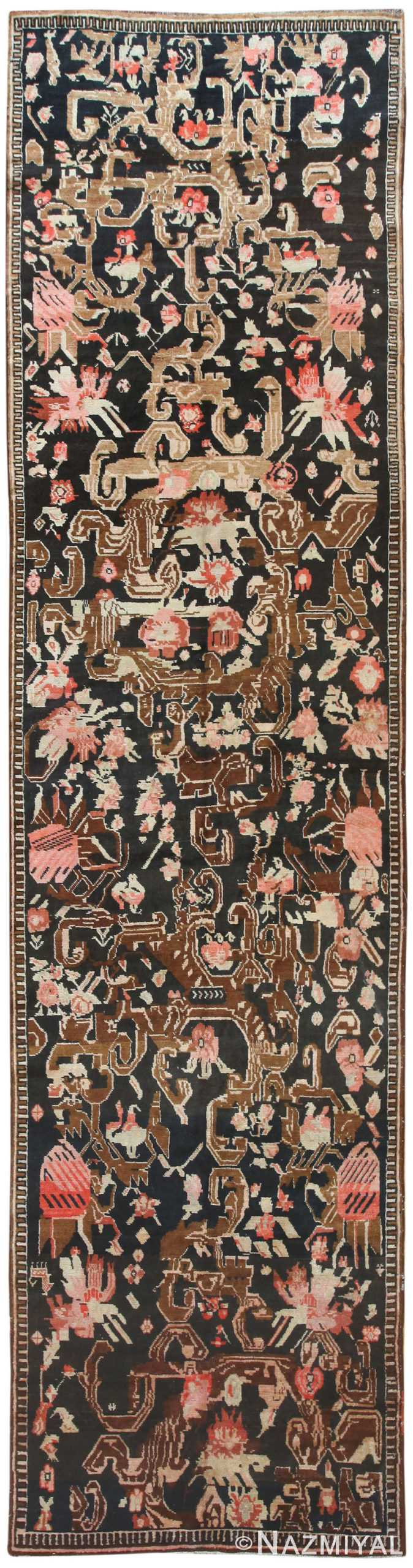 Charcoal Brown Almost Black Antique Caucasian Karabagh Rug #50030 by Nazmiyal Antique Rugs