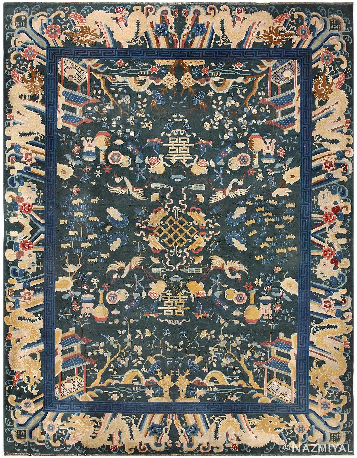 Antique Chinese Animal Rug 48430 Detail/Large View