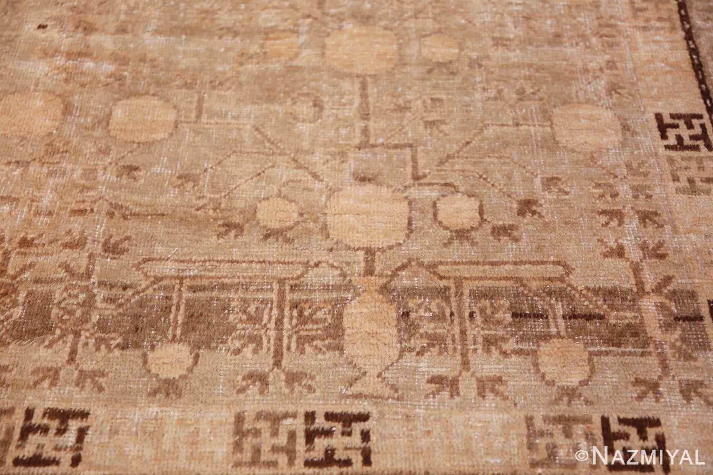 Antique East Turkestan Khotan Rug 50142 Brown Vase Nazmiyal