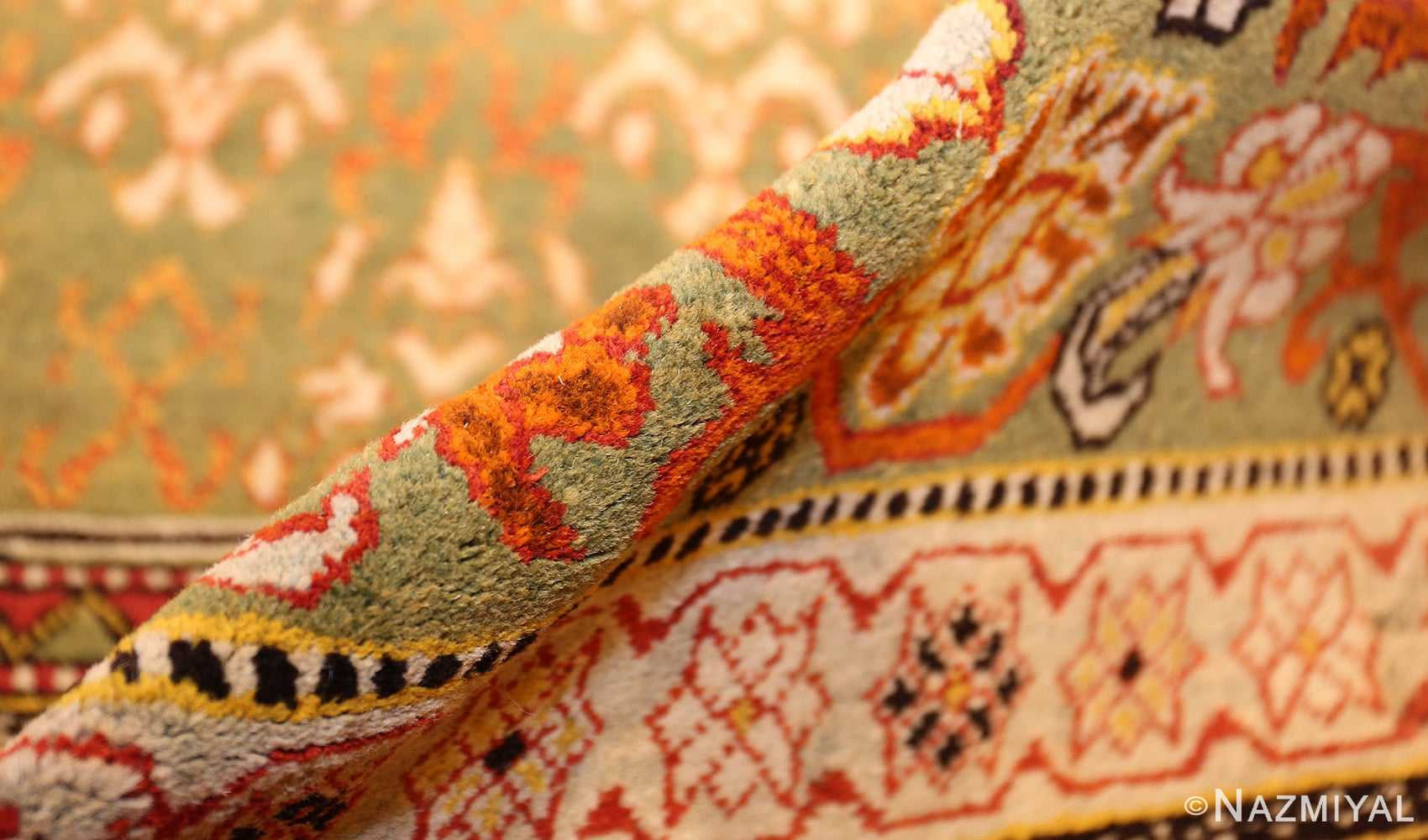 antique indian agra rug 50070 pile Nazmiyal