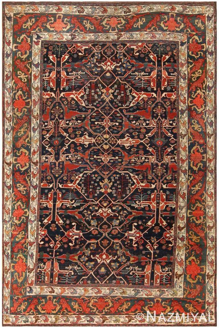 Large Blue Antique Persian Bidjar Rug 48307 by nazmiyal