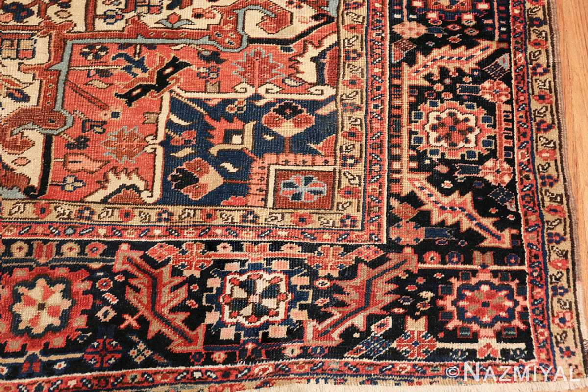 antique persian heriz rug 48318 corner Nazmiyal