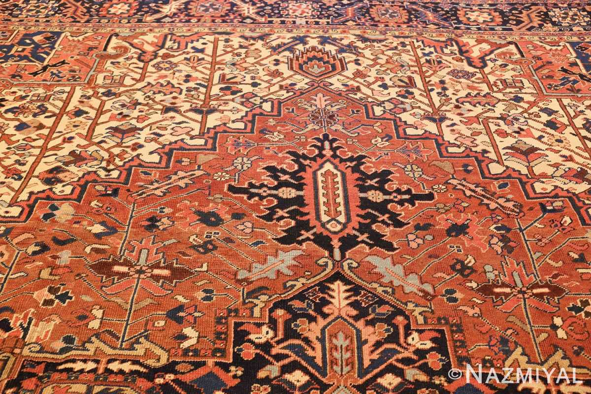 antique persian heriz rug 48318 top Nazmiyal
