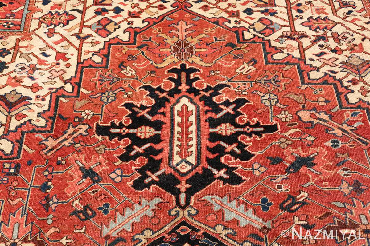 antique persian heriz rug 48318 top part Nazmiyal