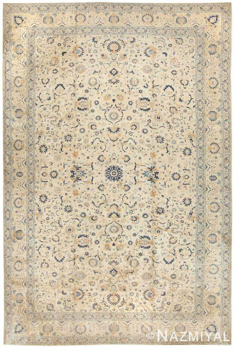 Oversized Ivory And Blue Antique Persian Kashan Rug #50115 by Nazmiyal Antique Rugs