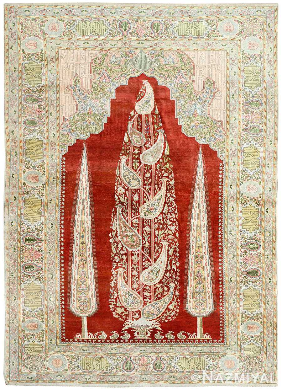 Antique Turkish Silk Prayer Rug 50049 Detail Large View