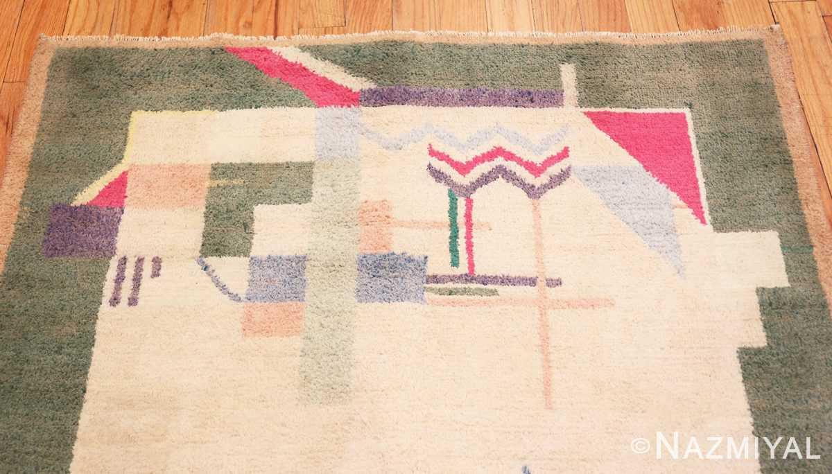 Close-up Cotton Indian Art deco rug 48426 by Nazmiyal