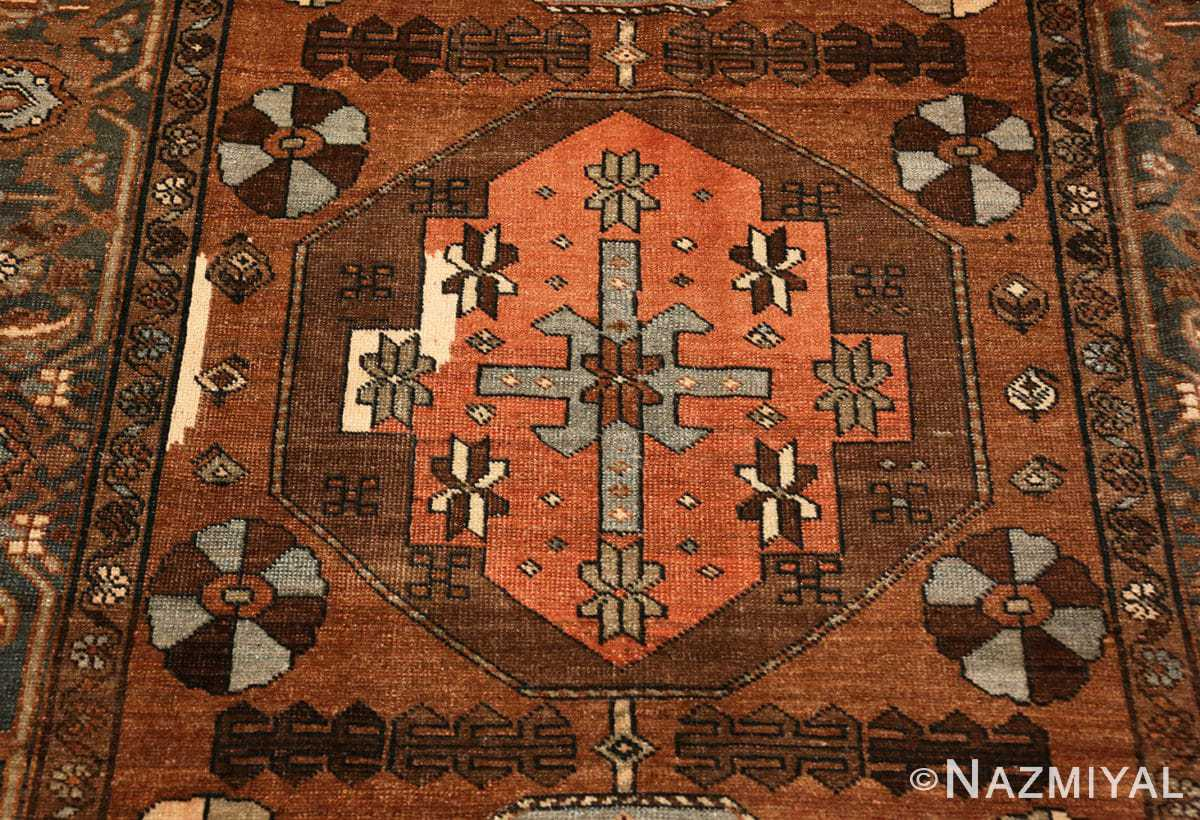 Detail Small Antique Tribal Persian Heriz rug 48338 by Nazmiyal