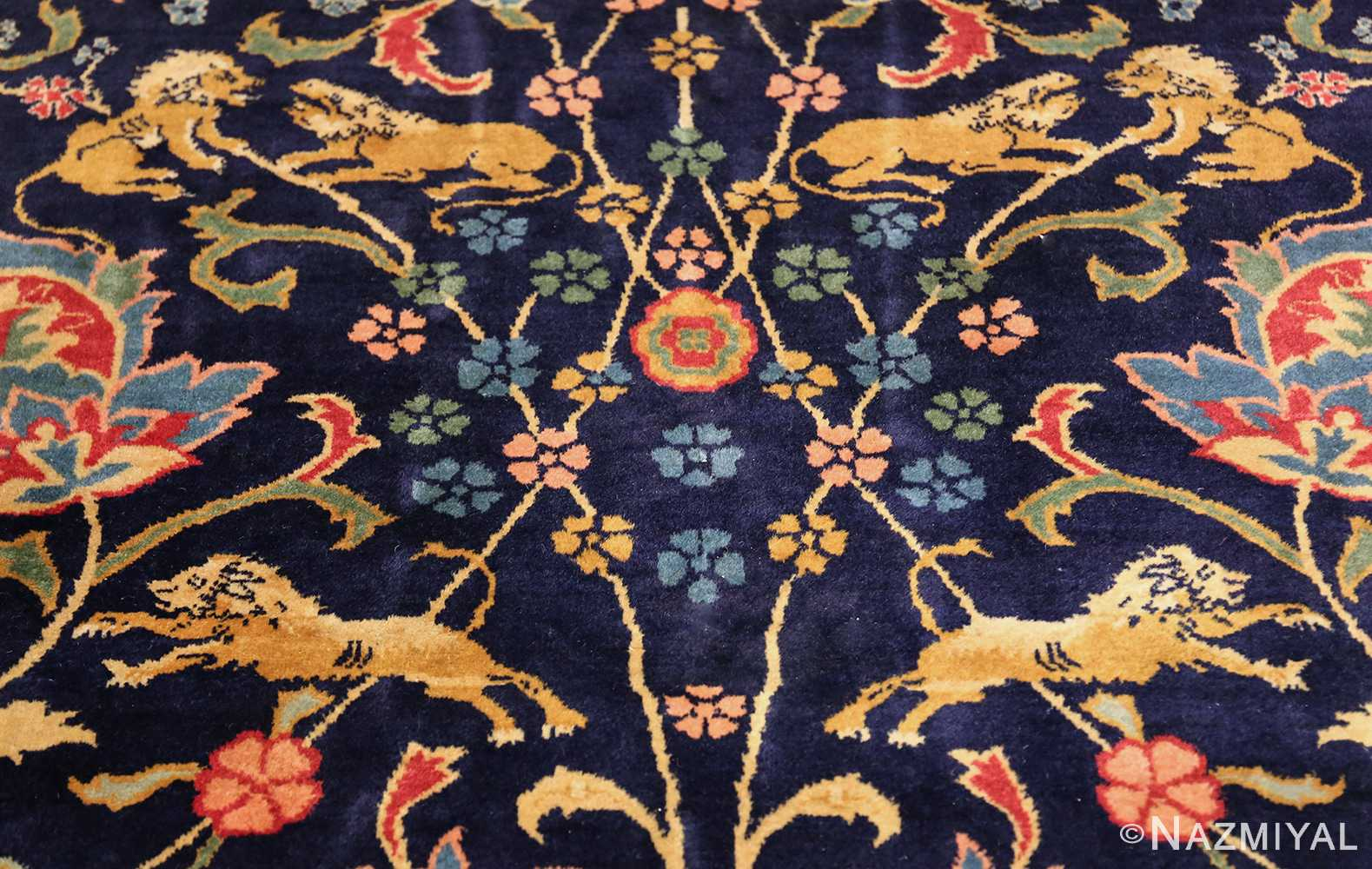 fine antique indian agra rug 48294 lions Nazmiyal