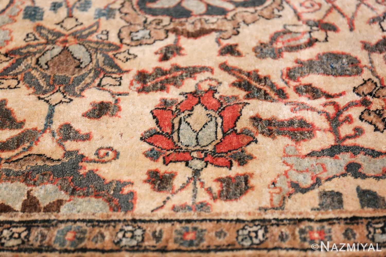 Fine Ivory Antique Persian Tabriz Rug 50155 Red Rose Nazmiyal