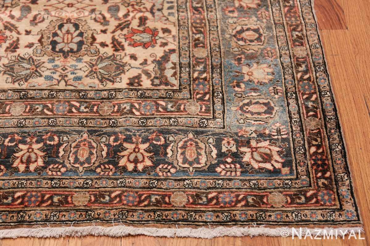 Fine Ivory Antique Persian Tabriz Rug 50155 Side Corner Nazmiyal
