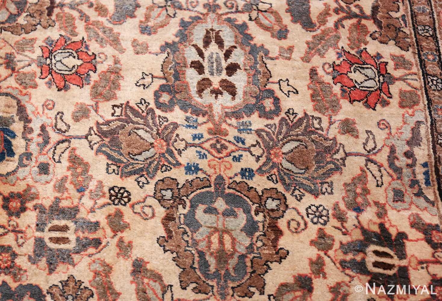 Fine Ivory Antique Persian Tabriz Rug 50155 Surrounded by Blue Nazmiyal