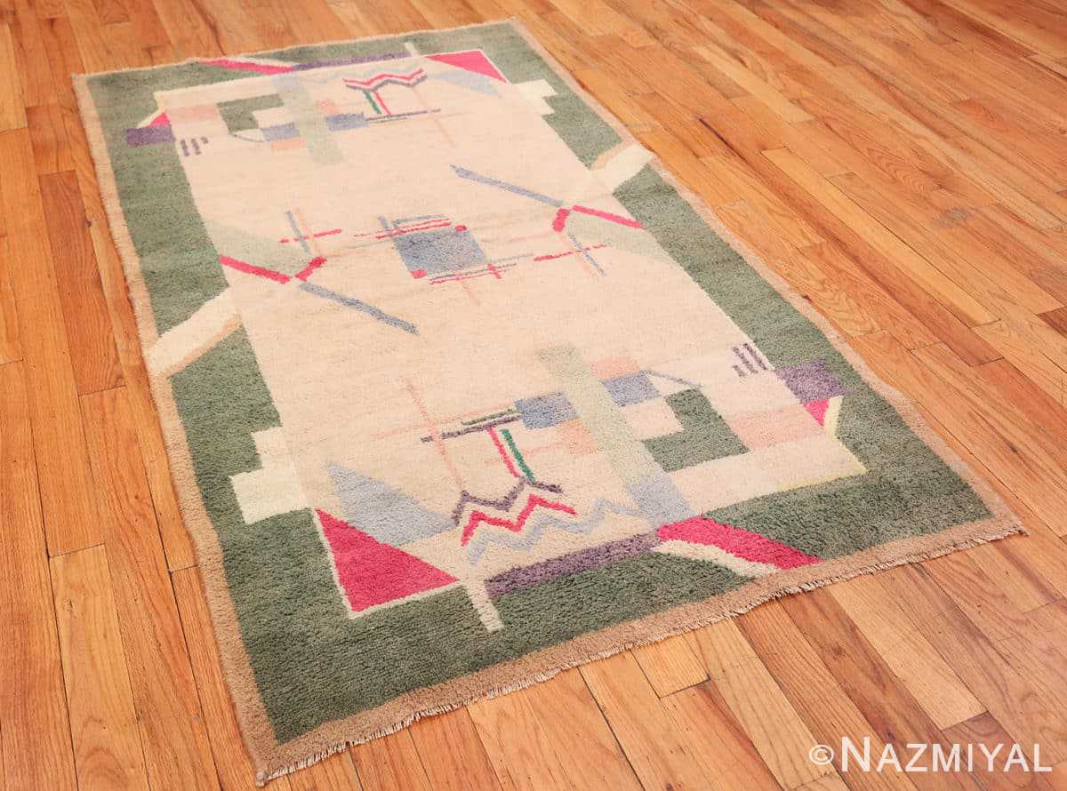 Full Cotton Indian Art deco rug 48426 by Nazmiyal