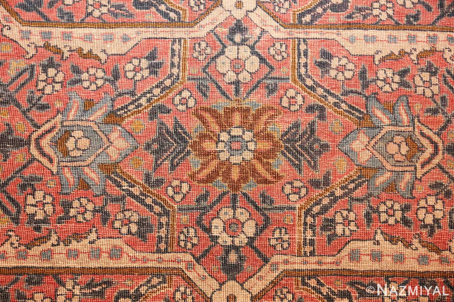 large antique persian tabriz rug 50107 flower Nazmiyal