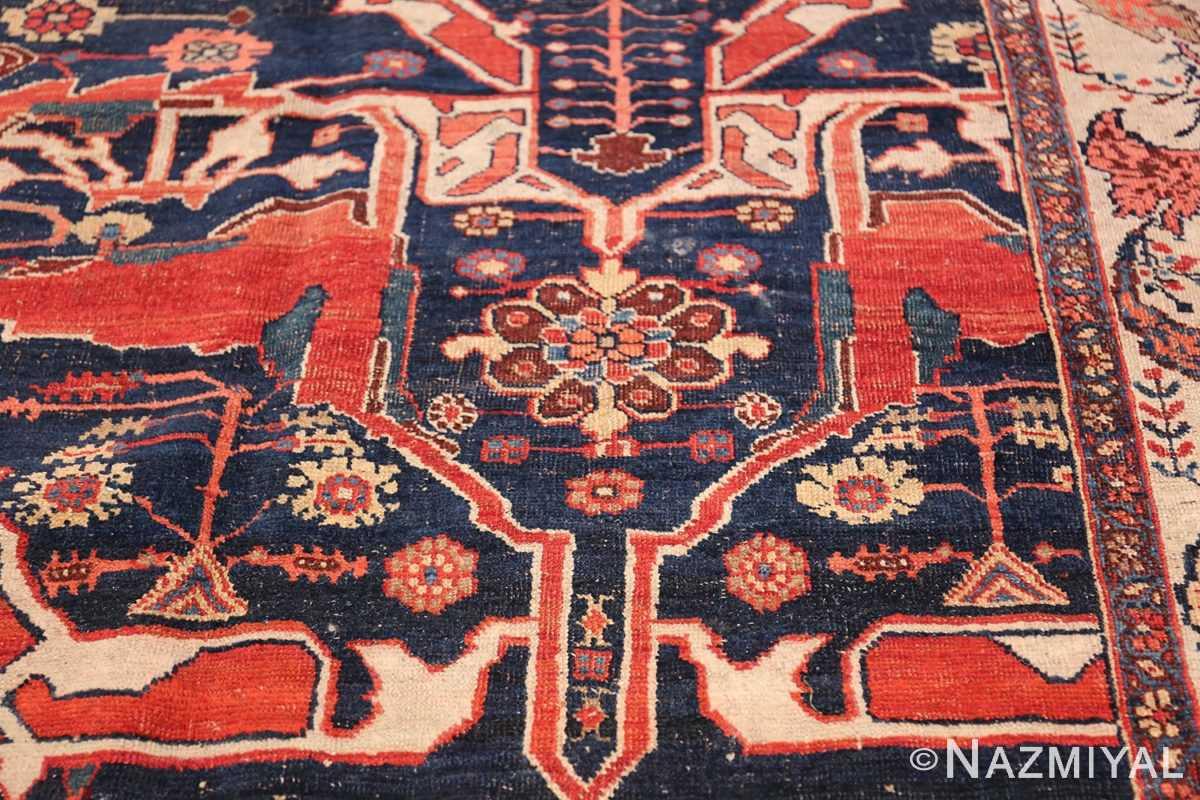 Large Blue Garous Design Antique Persian Bidjar Rug 48307 Central Flower Nazmiyal