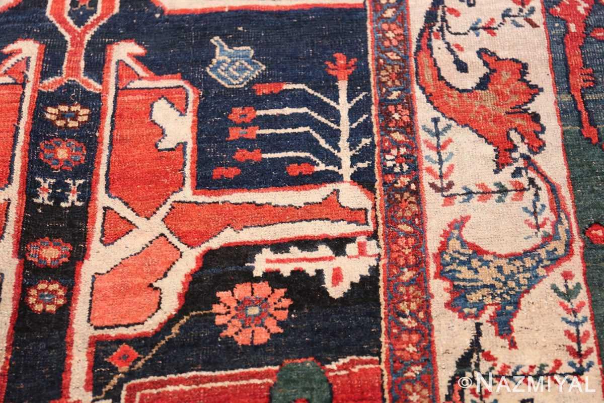 Large Blue Garous Design Antique Persian Bidjar Rug 48307 Colorful Flowers Nazmiyal
