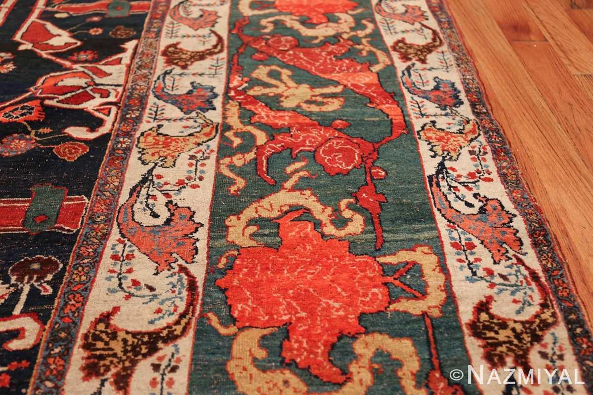 Large Blue Garous Design Antique Persian Bidjar Rug 48307 Shiny Red Border Nazmiyal