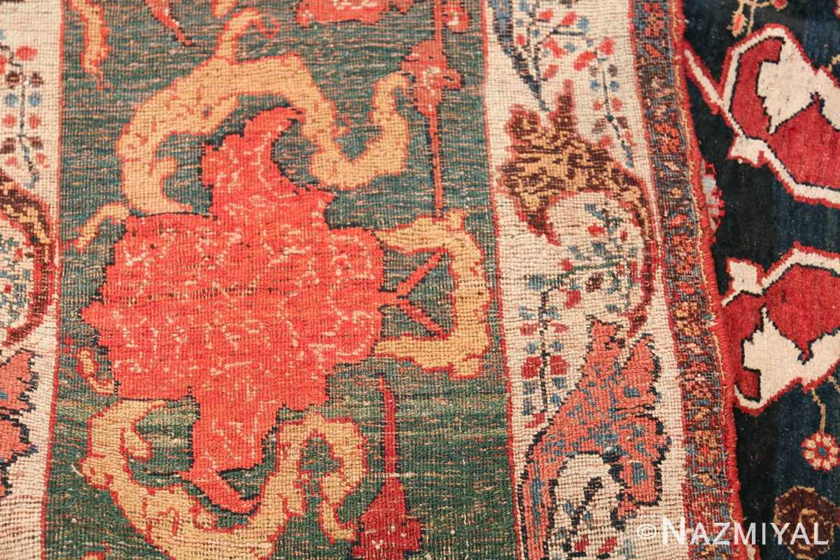 Large Blue Garous Design Antique Persian Bidjar Rug 48307 Woven Knots Nazmiyal