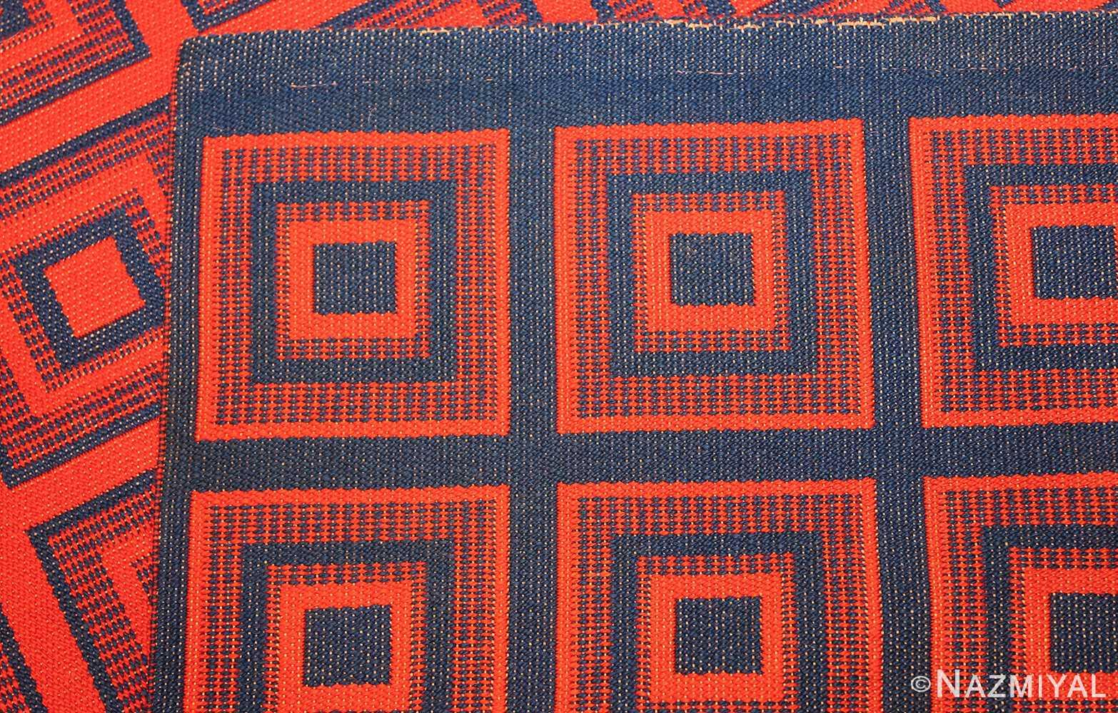 vintage double sided swedish kilim 48428 blue weave Nazmiyal
