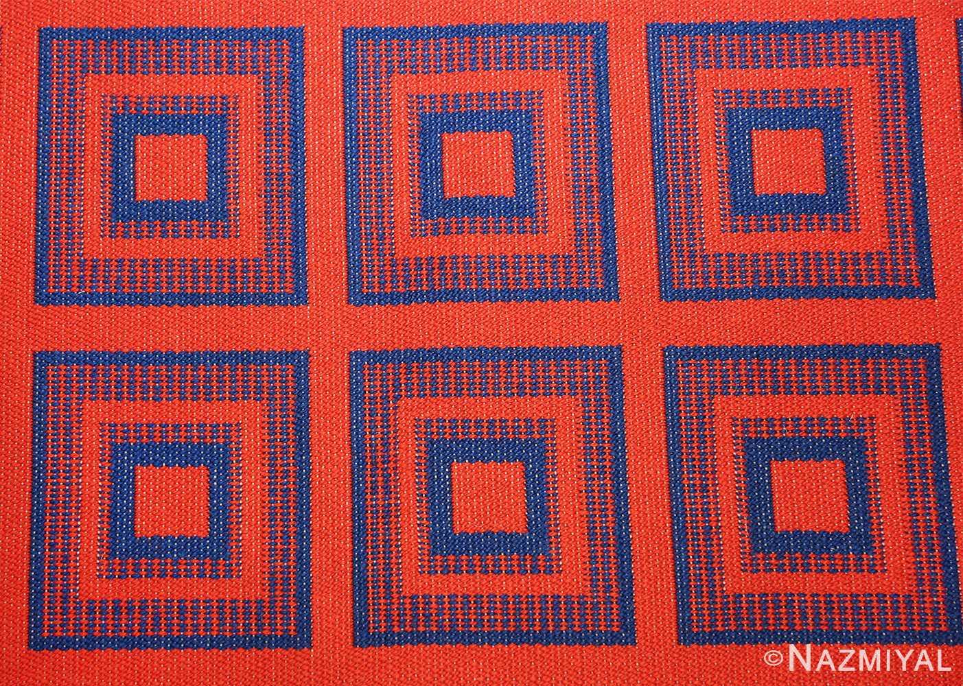 vintage double sided swedish kilim 48428 red closeup Nazmiyal