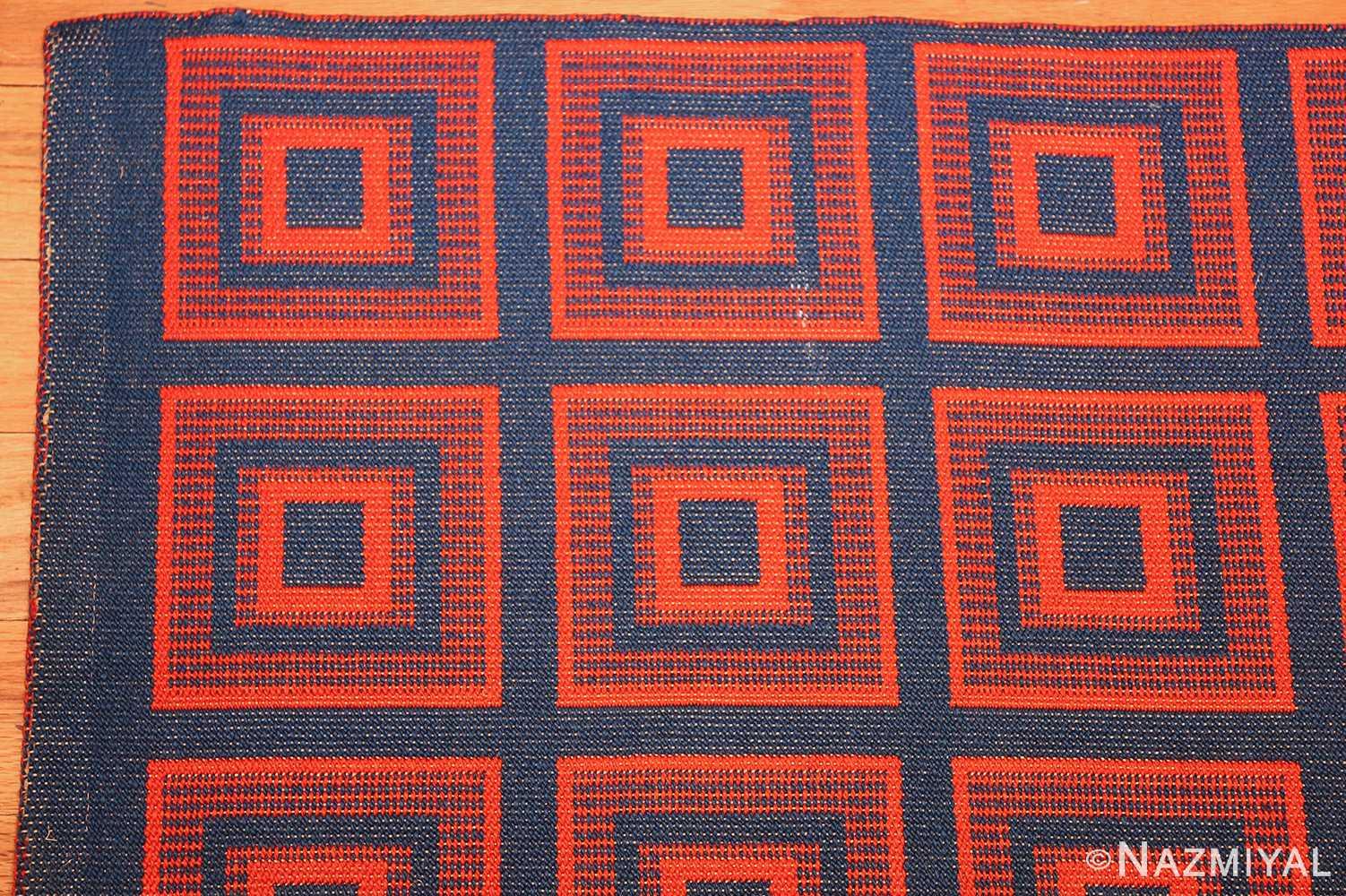 vintage double sided swedish kilim 48428 red corner Nazmiyal