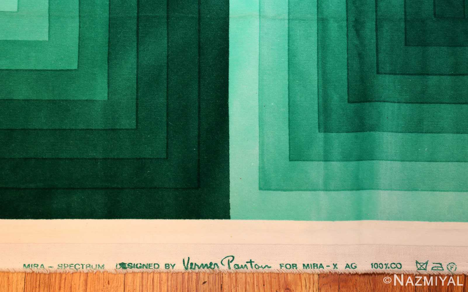vintage green quadrat verner panton textile 47731 signature