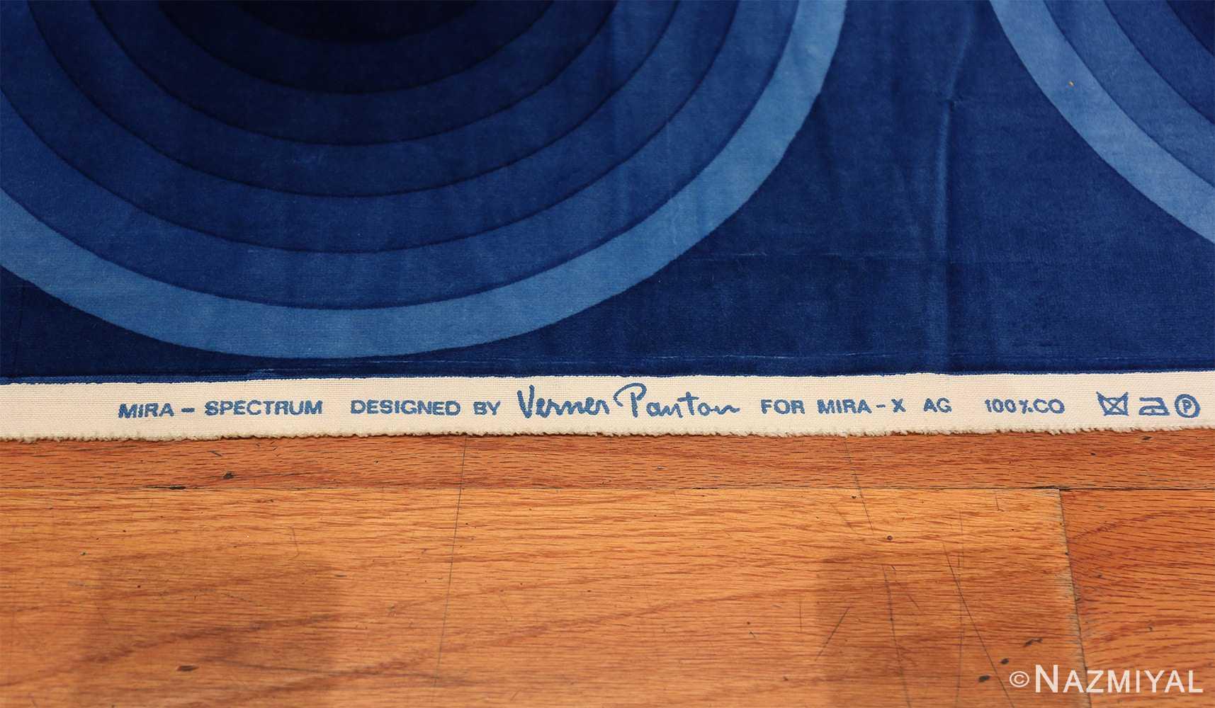 Vintage Kurve Verner Panton Textile in Blue 47720 Side Signature Nazmiyal