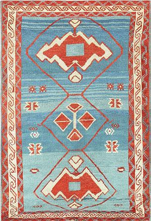 Antique Light Blue Tribal Caucasian Avar Rug 47488 Nazmiyal