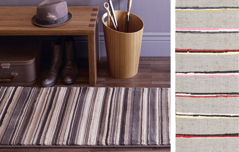 Left: Use a striped runner to add polish to your space. Right: Similar vintage Scandinavian rag rug 46668 from Nazmiyal