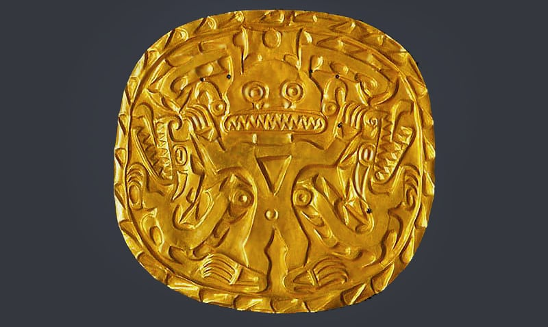 Antique Native American Art - Coclé artist. Gold Plaque with Crocodile Deity, circa 700–900. Sitio Conte, Coclé Province, Panama - Nazmiyal