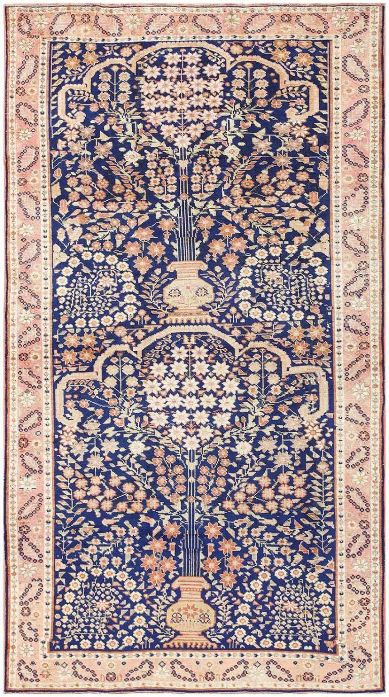 Blue Floral Antique Persian Afshar Rug 50042 by Nazmiyal
