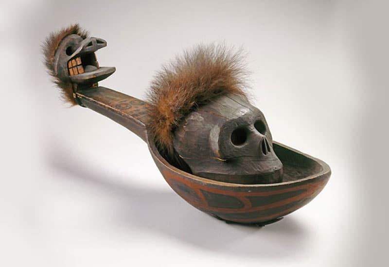 Heiltsuk artist. Ladle with Skull, 19th century. Wáglísla, British Columbia, Canada.  Nazmiyal Collection