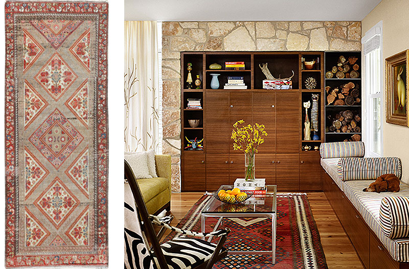 Left: Nazmiyal Antique Serab Rug 50008, Right: Interior Design with Similar Antique Carpet