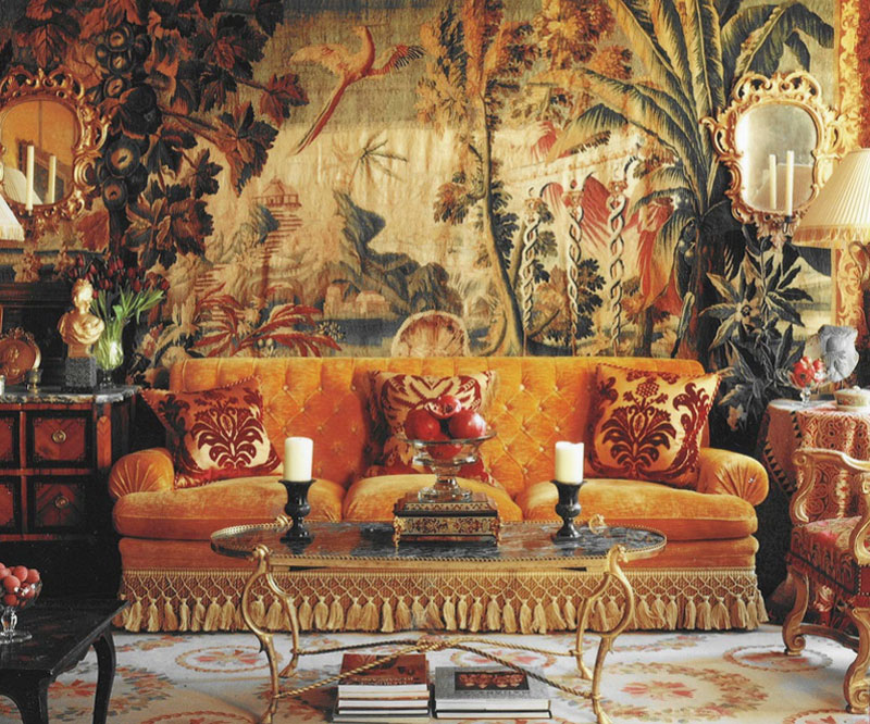Opulent Interior Design with Antique Tapestry Nazmiyal