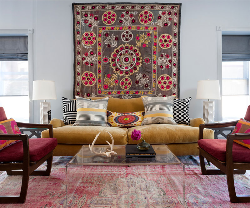Modern Interior with Tapestry on Wall Nazmiyal