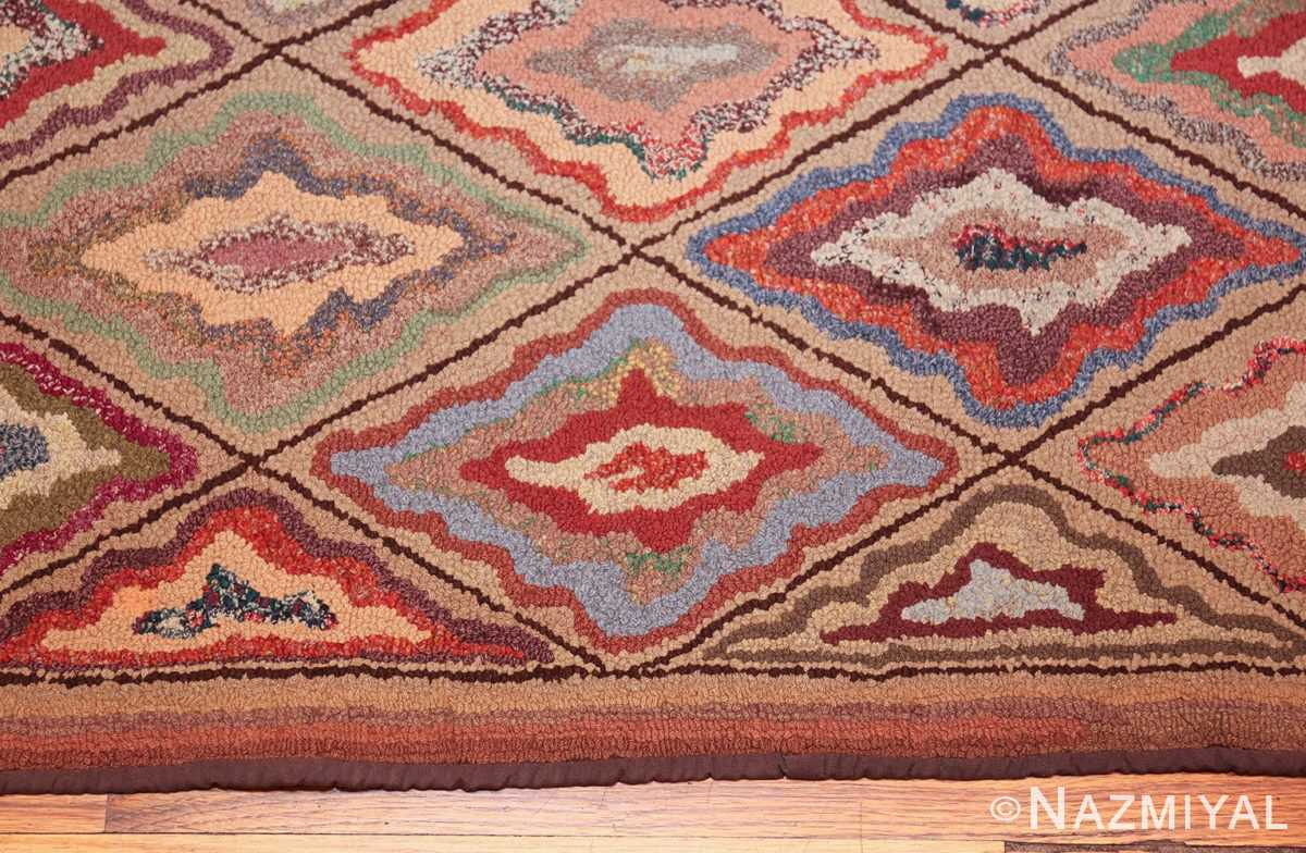 antique american hooked rug 50108 border Nazmiyal