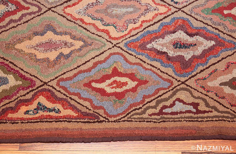 antique american hooked rug 50108 border Nazmiyal