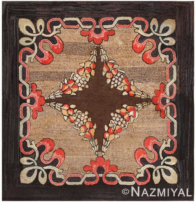 Antique American Hooked Rug 50177 Detail/Large View