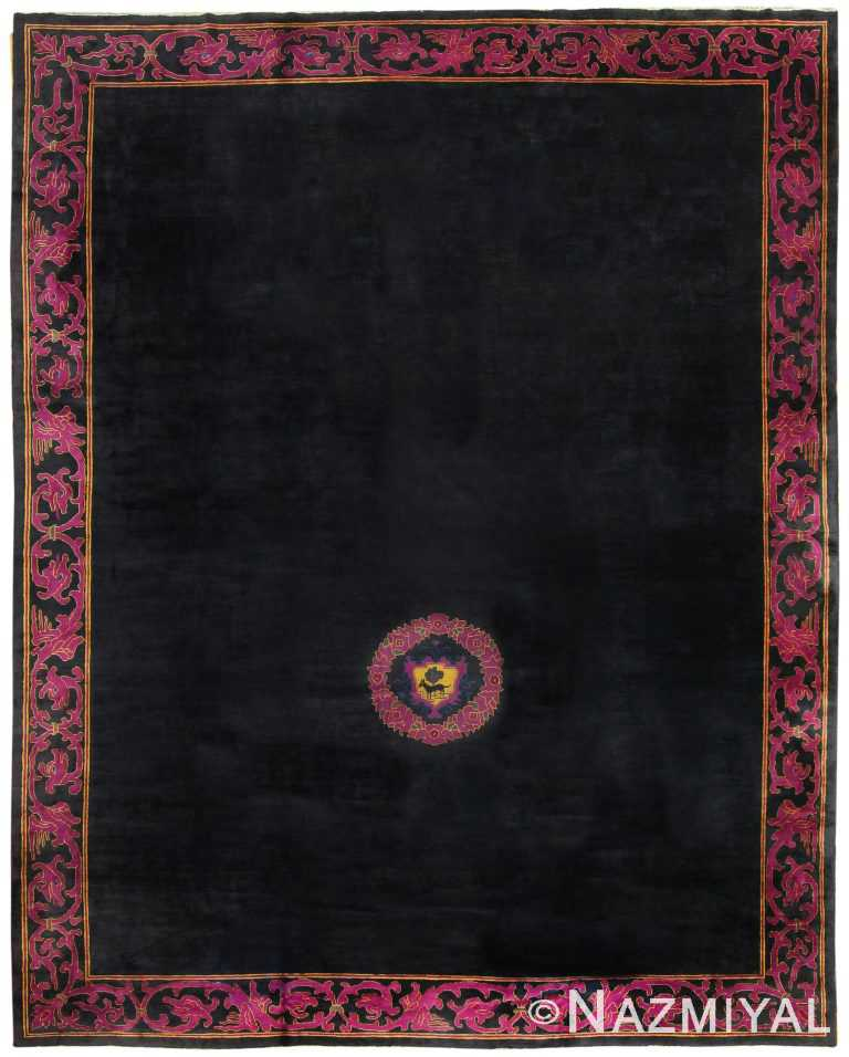 Antique Black Chinese Rug 50101 Detail/Large View