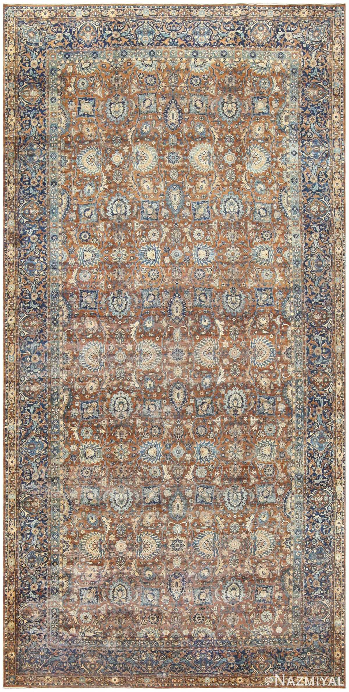 Brown and Blue Oversized Antique Persian Kerman Carpet 50192 Nazmiyal