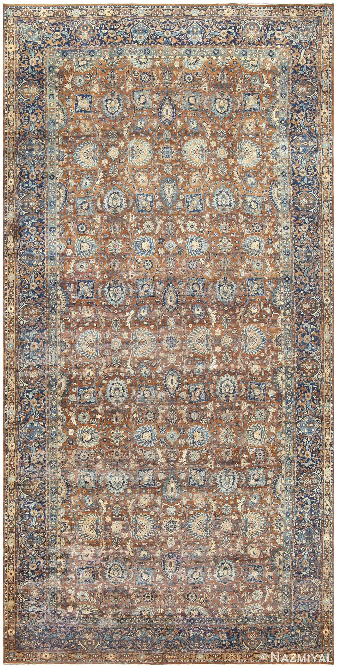 Brown and Blue Oversized Antique Persian Kerman Carpet 50192 Nazmiyal