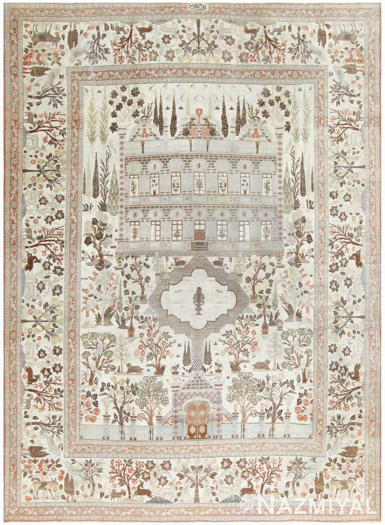 Antique Persian Palace Scene Tabriz Rug 50074 Detail/Large View