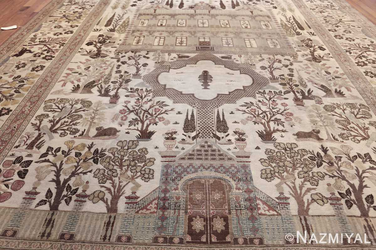 antique persian palace scene tabriz rug 50074 field Nazmiyal