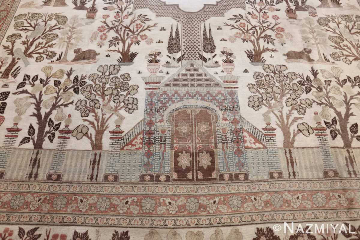 antique persian palace scene tabriz rug 50074 gate Nazmiyal