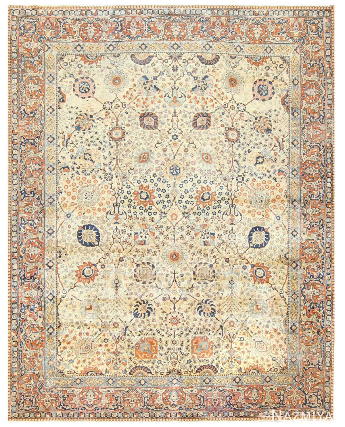 Antique Persian Tabriz Rug 50176 Detail/Large View