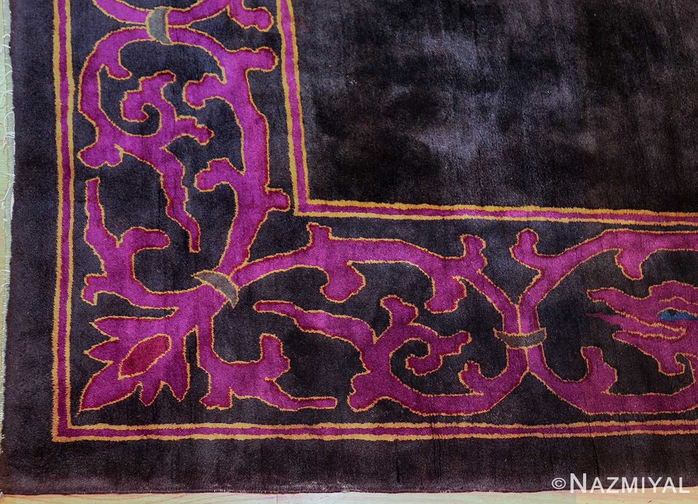 art deco chinese rug with dragon border 50101 corner Nazmiyal