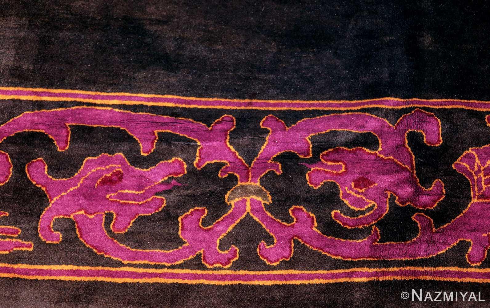 art deco chinese rug with dragon border 50101 dragon Nazmiyal