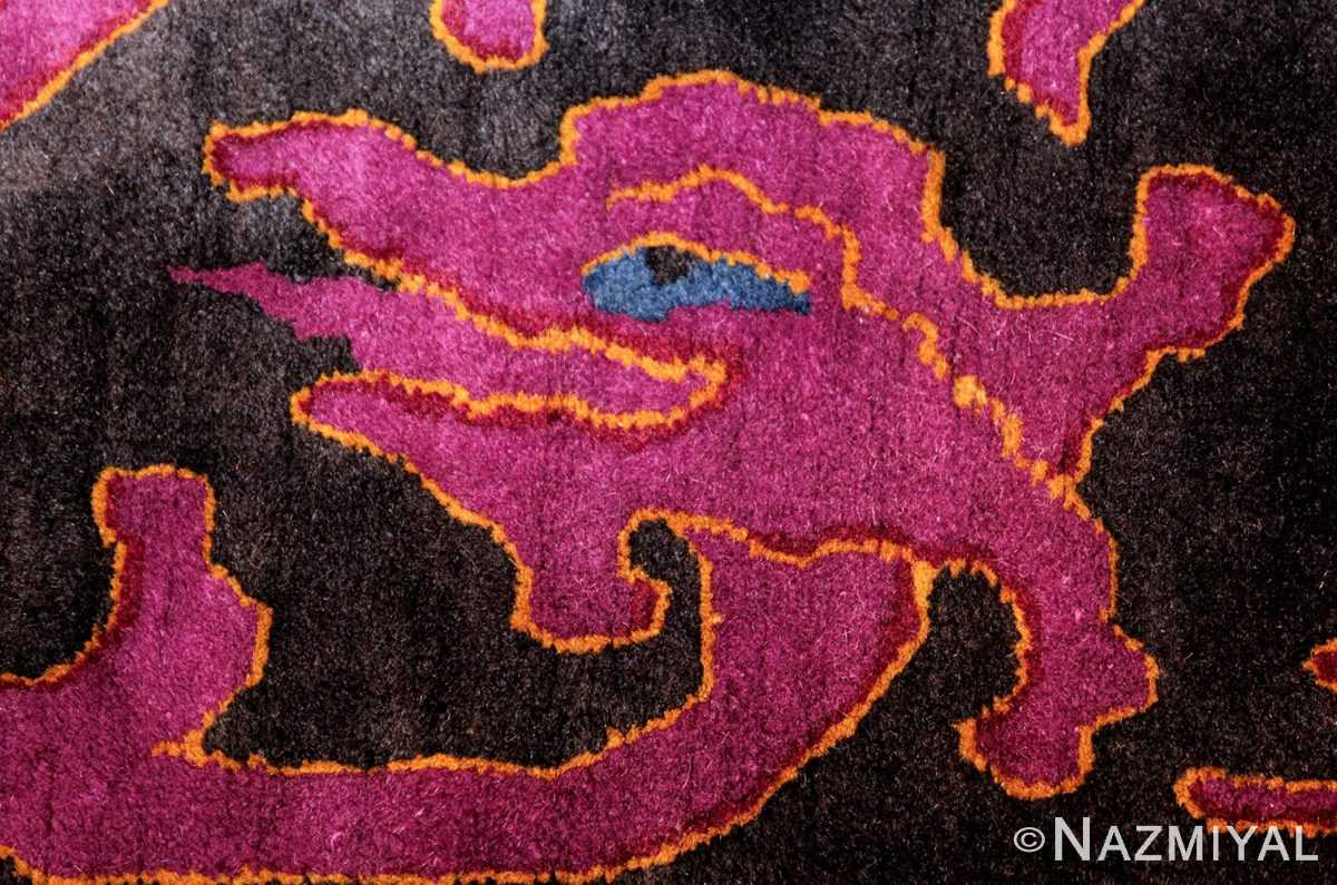 art deco chinese rug with dragon border 50101 fire Nazmiyal