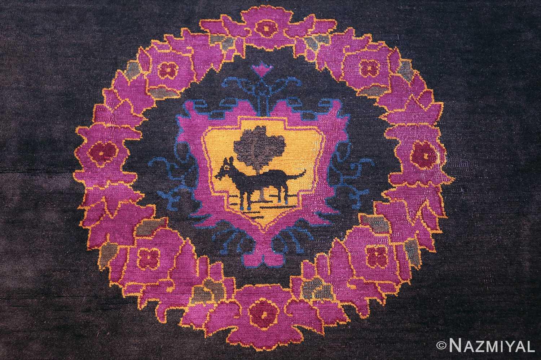 art deco chinese rug with dragon border 50101 medallion Nazmiyal